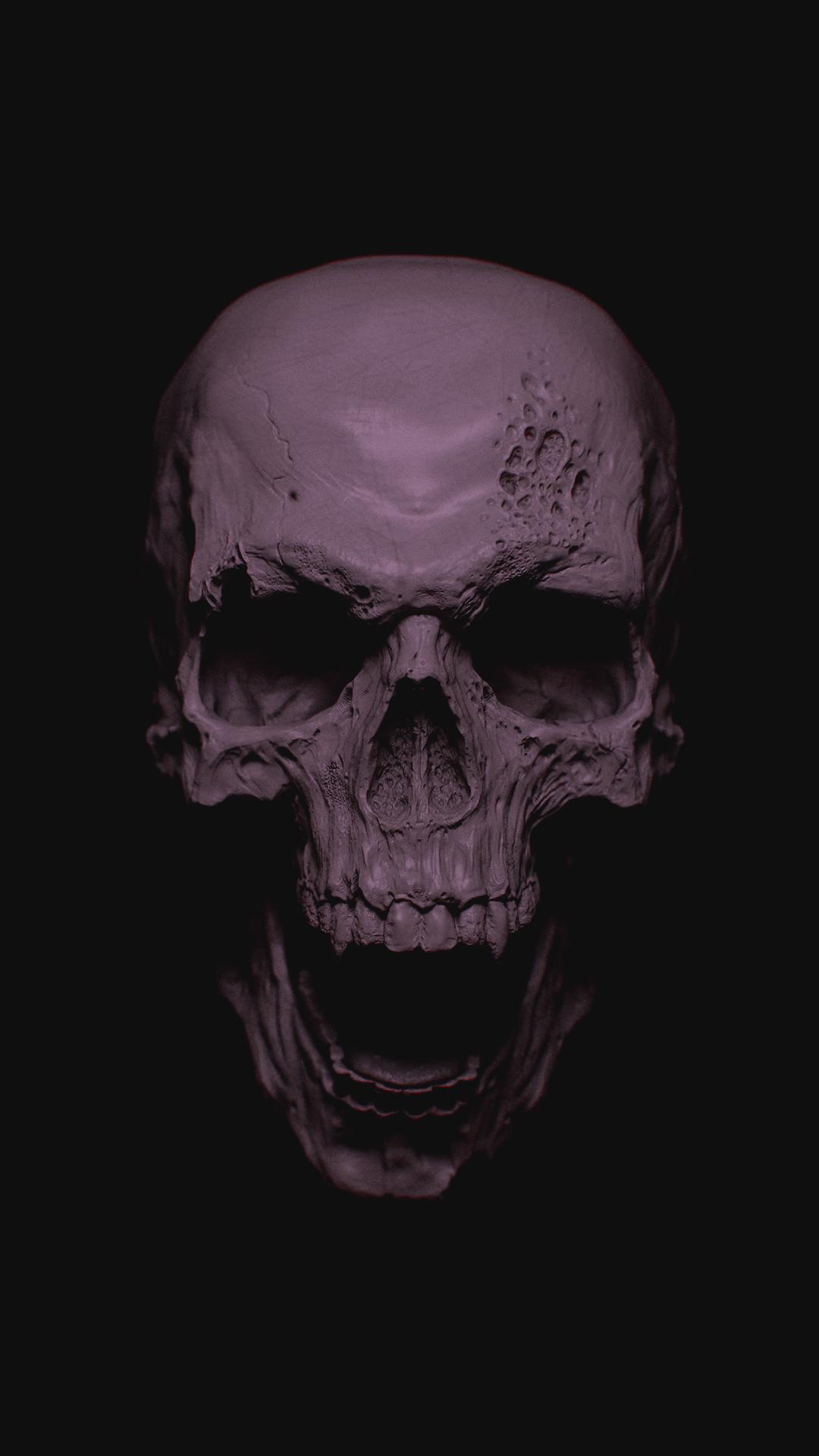 Grey Skull Phone Wallpaper