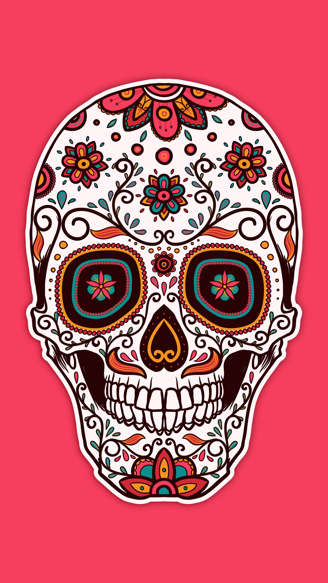 Free Hd Pink Sugar Skull Phone Wallpaper 6644