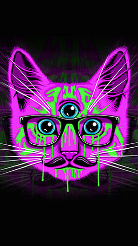 Psychedelic Kitty Phone Wallpaper